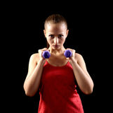 Attractive beautiful woman in gym stock photos