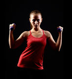 Attractive beautiful woman in gym royalty free stock images