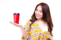 Attractive beautiful woman hold paper cup of coffee. Charming be royalty free stock photography