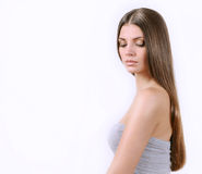 Attractive beautiful woman with pure skin and bright long hair Royalty Free Stock Photography