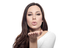 Free Attractive Beautiful Woman Showing Air Kiss. Royalty Free Stock Images - 66661489