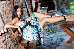 Attractive beautiful woman sitting Royalty Free Stock Photography