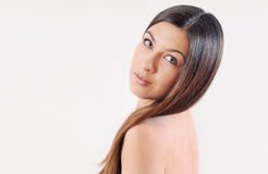 Attractive beautiful woman with strong healthy bright hair Royalty Free Stock Photography