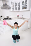 Attractive beautiful women after cleaning the house Stock Photo
