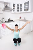 Attractive beautiful women after cleaning the house Royalty Free Stock Photos