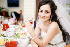 Attractive beautiful young bride in white dress Royalty Free Stock Photography