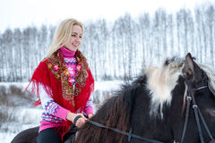 Attractive beautiful young woman in fashionable pullovere winter Stock Photo