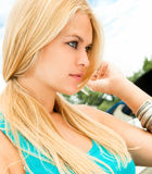 Attractive beauty blody woman  on yacht Royalty Free Stock Photography