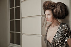 Attractive beauty hair Beautiful fashionable woman with attractive architecture Royalty Free Stock Image