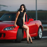 Attractive beauty woman portrait with car stock photo