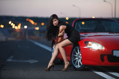 Attractive beauty woman portrait with car stock photos