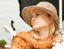 Attractive beauty woman with straw hat Royalty Free Stock Photography