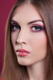 Attractive beautyful woman portrait with pink make up Stock Photo