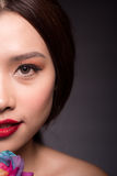Attractive beautyful woman portrait with pink make up royalty free stock images