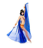 Attractive belly dancer girl with blue wings Royalty Free Stock Images
