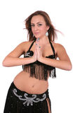 Attractive belly dancer with long blond hair Royalty Free Stock Photography