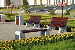 Attractive benches in the street Stock Photo
