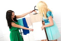 Attractive best friends during shopping Stock Photography