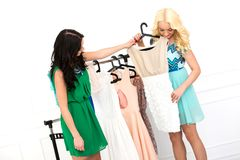 Attractive best friends during shopping Royalty Free Stock Photography