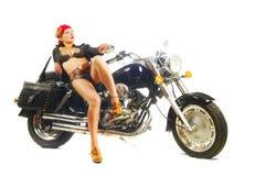 Attractive biker girl stock photography