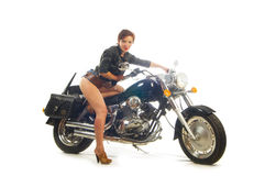 Attractive biker girl Stock Images