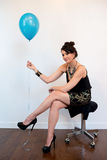 Attractive Black Hair Model with Balloon Stock Photography