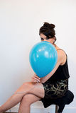 Attractive Black Hair Model with Balloon Royalty Free Stock Photography