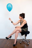 Attractive Black Hair Model with Balloon Stock Photo
