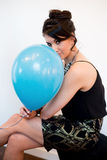 Attractive Black Hair Model with Balloon Royalty Free Stock Photo