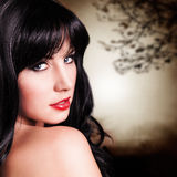 Attractive black haired woman looking into camera Royalty Free Stock Photos