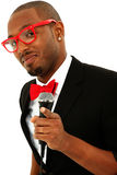 Attractive Black Male Singer With Microphone Royalty Free Stock Photo