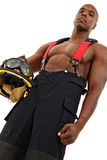 Attractive Black Man Firefighter in Uniform Royalty Free Stock Photo