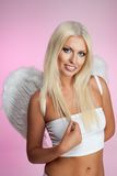 Attractive blond angel Stock Photos