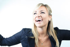 Attractive blond business woman on studio Royalty Free Stock Photos