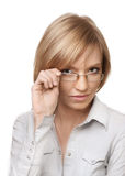 Attractive blond businesswoman with glasses Stock Photos