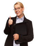 Attractive Blond Businesswoman with Thumbs Up Isolated on White Royalty Free Stock Image