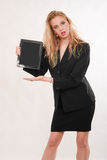 Attractive blond caucasian business woman Royalty Free Stock Photos