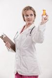 Attractive blond caucasian health care worker Royalty Free Stock Images