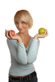 Attractive blond girl with apples Royalty Free Stock Photography