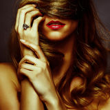 Attractive blond girl romance portrait Royalty Free Stock Photos