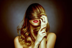 Attractive blond girl romance portrait. Red lips Stock Photos