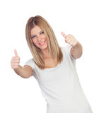 Attractive blond girl saying Ok Royalty Free Stock Image