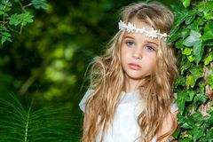Attractive blond girl in woods. Royalty Free Stock Images