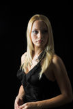 Attractive blond model on black background. Black dress - very high resolution Royalty Free Stock Images