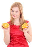 Attractive blond with orange Stock Image