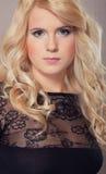 Attractive blond portrait girl. Luxury eyes Stock Photos