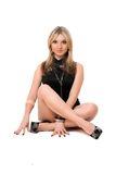 Attractive blond woman in black Royalty Free Stock Photos