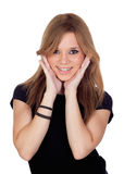 Attractive blond woman with black shirt Stock Image