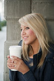 Attractive Blond Woman with Coffee Stock Photography