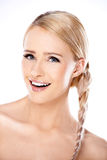 Attractive blond woman with her hair in a braid Royalty Free Stock Images